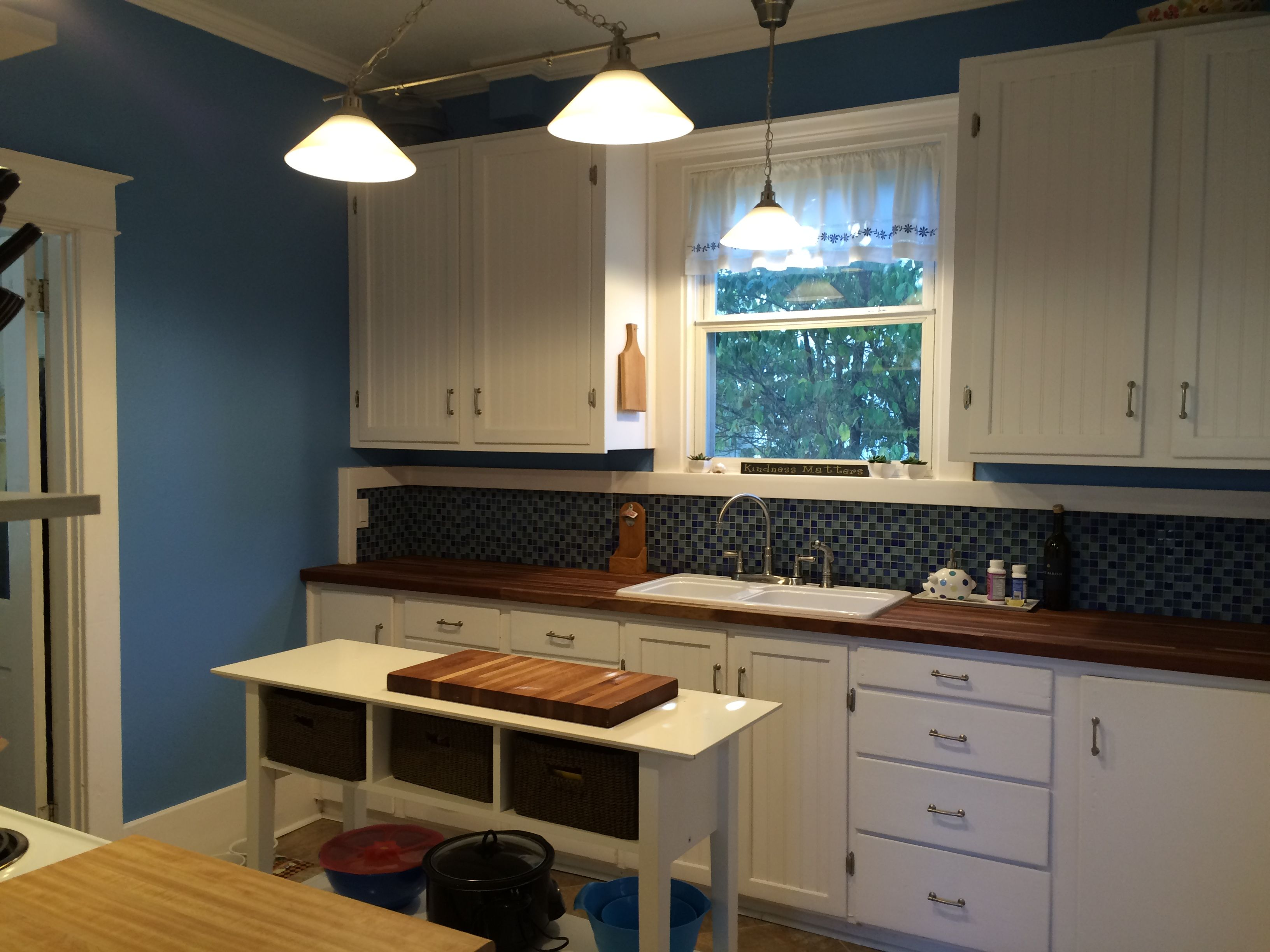 blue tile backslash home depot island ikea sideboard baskets world market butcher block counter tops from lumber liquidators best