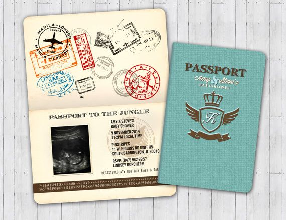 Passport and ticket baby shower invitation coed baby shower passport and ticket baby shower invitation coed by lyonsprints filmwisefo