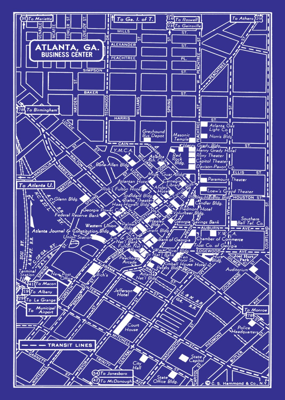 1949 vintage map of atlanta georgia 20x30 blueprint map print poster 1949 vintage map of atlanta georgia 20x30 blueprint map print poster 2995 via etsy malvernweather Image collections