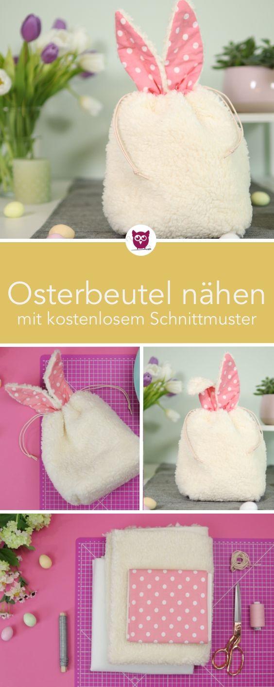 Photo of Ostertaschen / Osterkörbe nähen in Kaninchenform mit Ohren zu Ostern. Das Kaninchen …