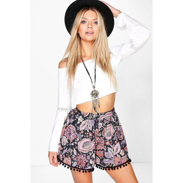Boohoo Rose Pom Pom Trim Floral Flippy Short (£14) ❤ liked on Polyvore featuring shorts, multi, pom pom shorts, sequin hot pants, embellished shorts, culottes shorts and short shorts