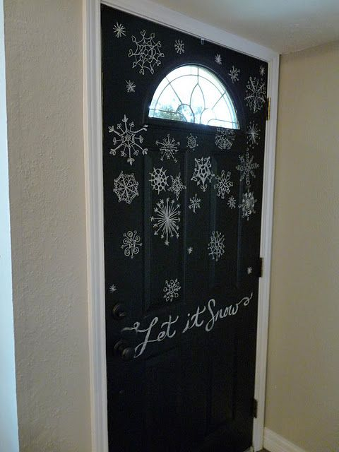 The Inside Of The Front Door Painted With Chalkboard Paint Now
