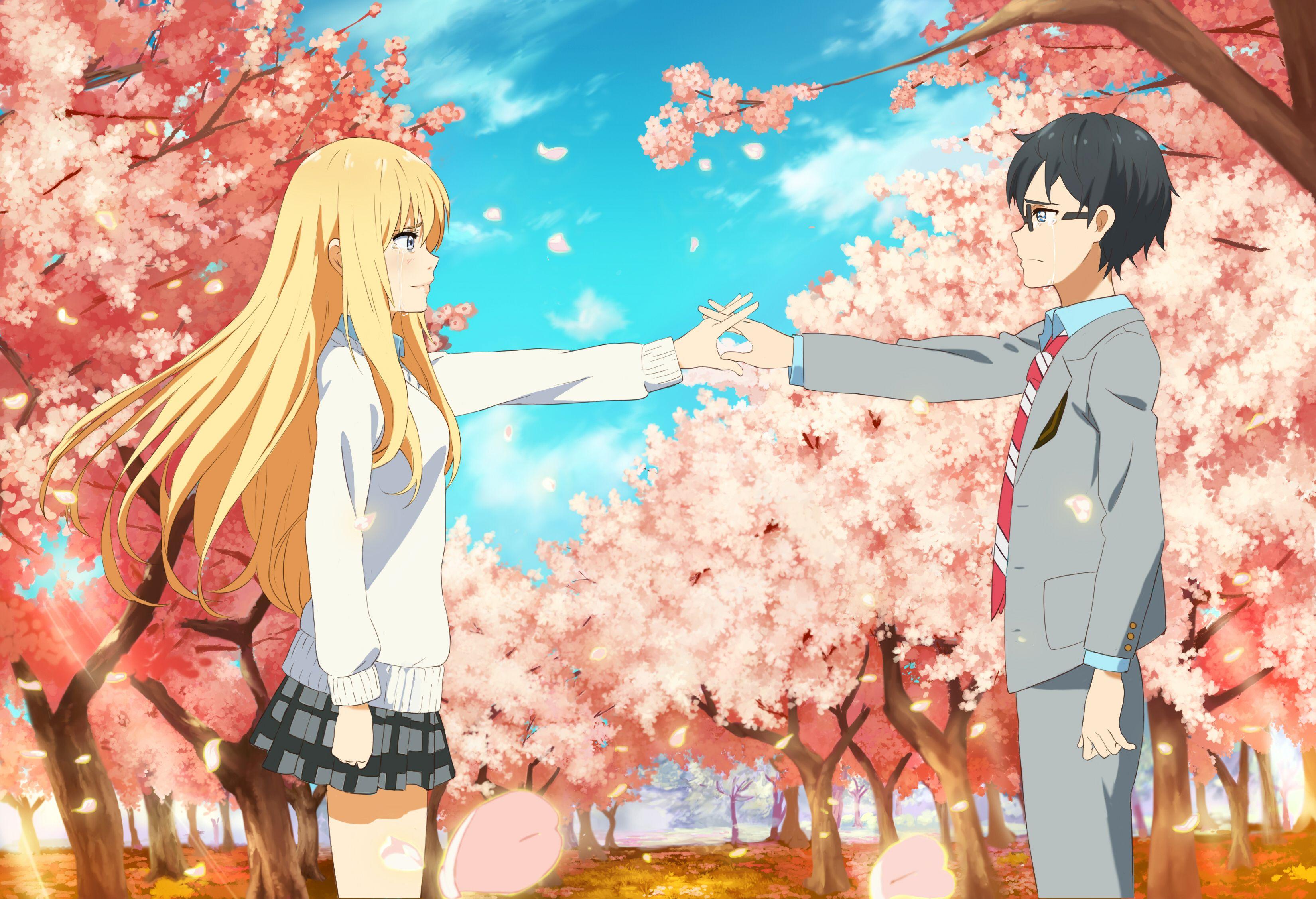 Anime Your Lie In April Kousei Arima Kaori Miyazono