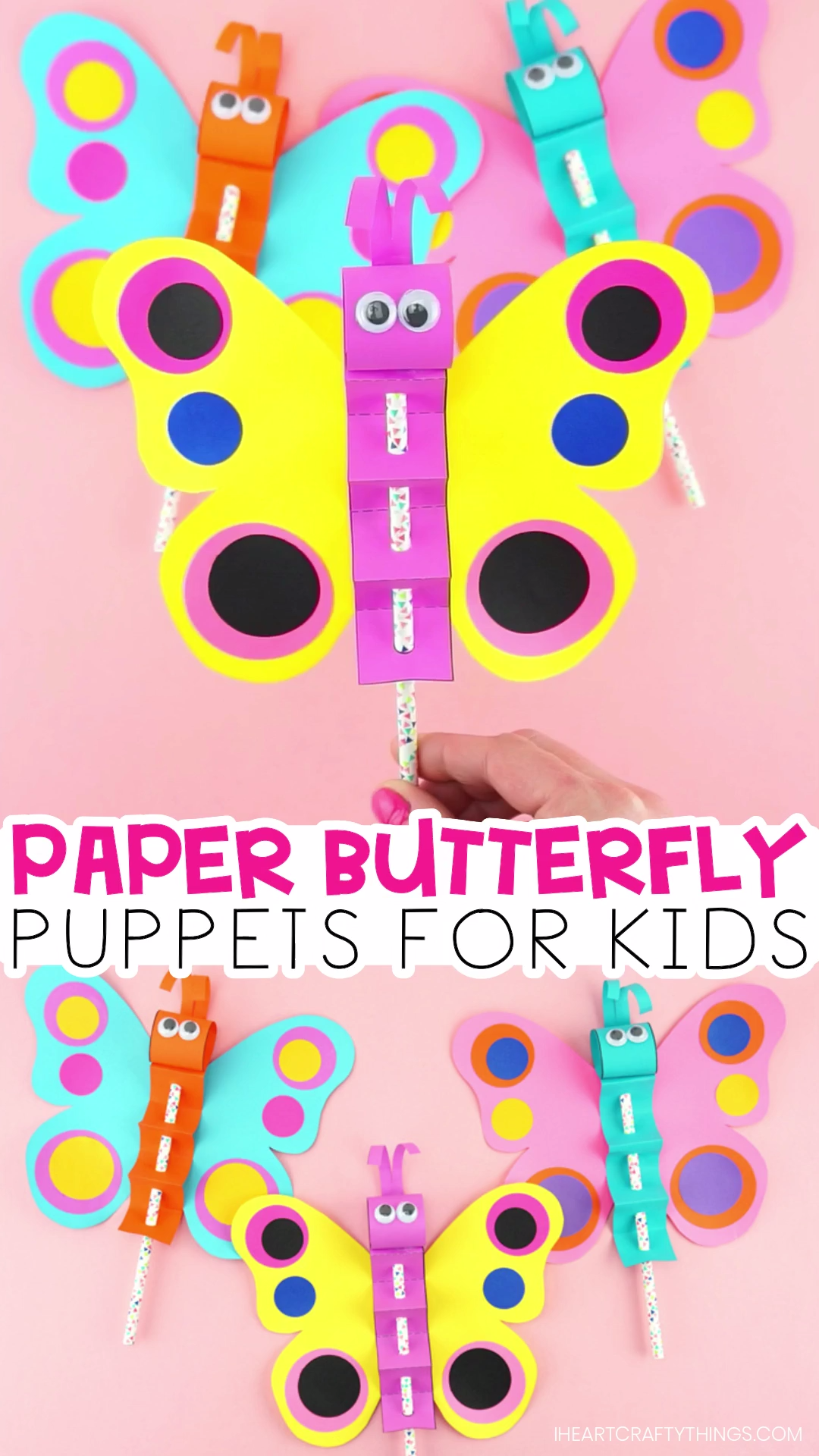 How to Make a Colorful Paper Butterfly Puppet #craftsforkids