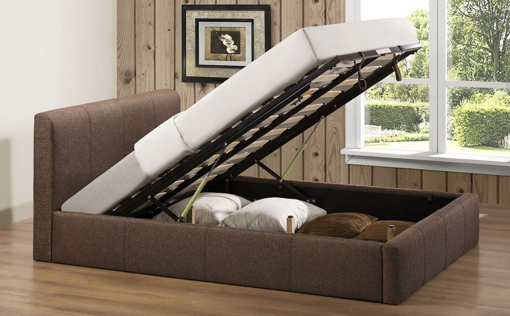 Brooklyn Brown Fabric King Size Ottoman Storage Bed At Furniture Choice Ottoman Storage Bed Fabric Bed Frame Ottoman Bed