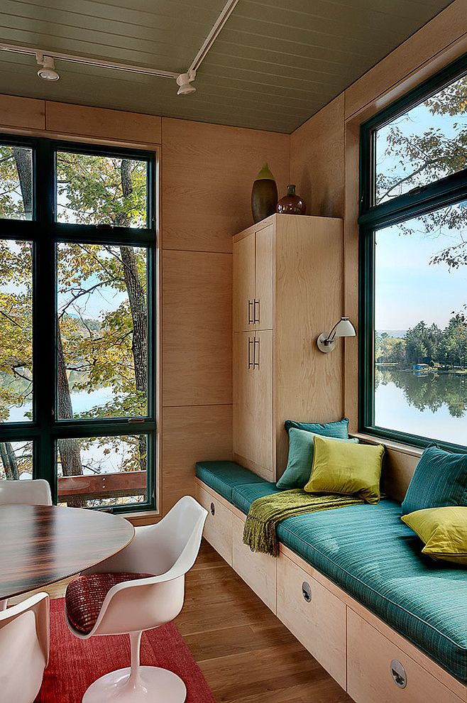 Modern Guest House by Odell Construction. Love the window seats!