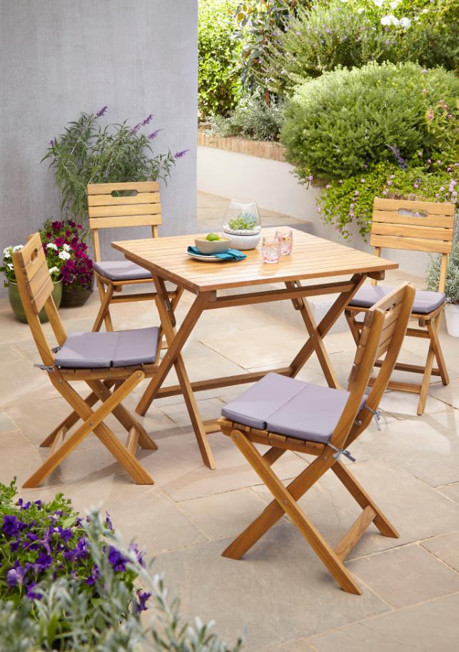 Lot table de jardin en acacia Denia pliante + 2 chaises de ...