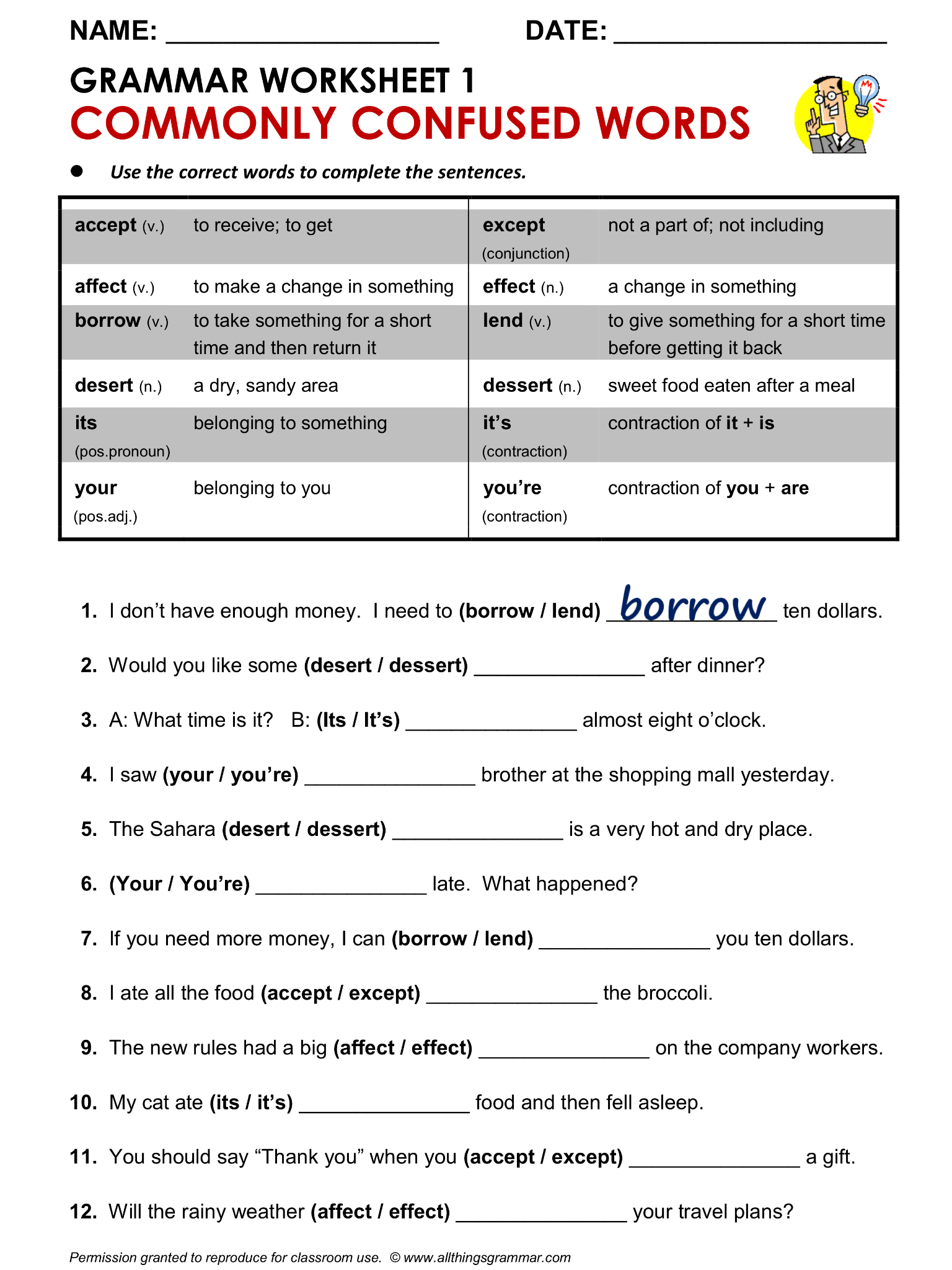 English Grammar Worksheet Commonly Confused Words 1