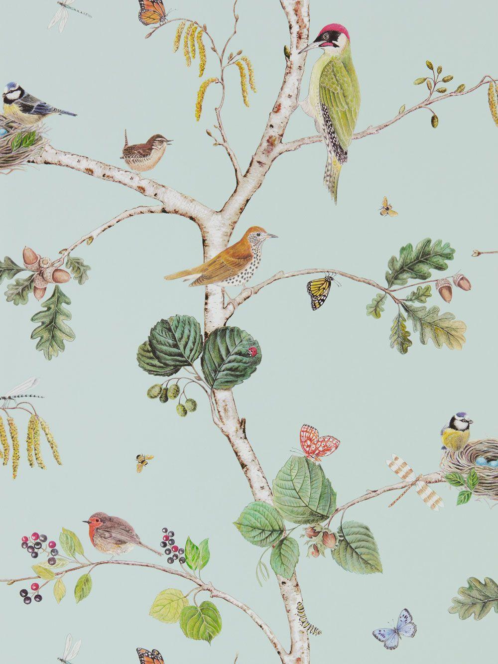 Woodland Chorus by Sanderson Sky Blue Wallpaper