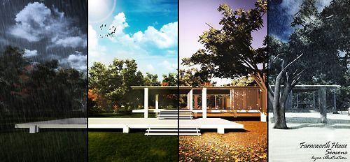lumion and photoshop | farnsworth house 4 seasons rendering