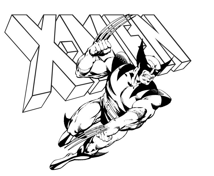 Gallery Of Wolverine Coloring Pages For Kids LineArt Wolverine