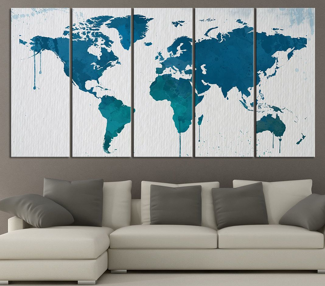 Large wall art blue and turquoise world map on watercolor paper large wall art blue and turquoise world map on watercolor paper texture canvas art print x large world map canvas art sciox Images