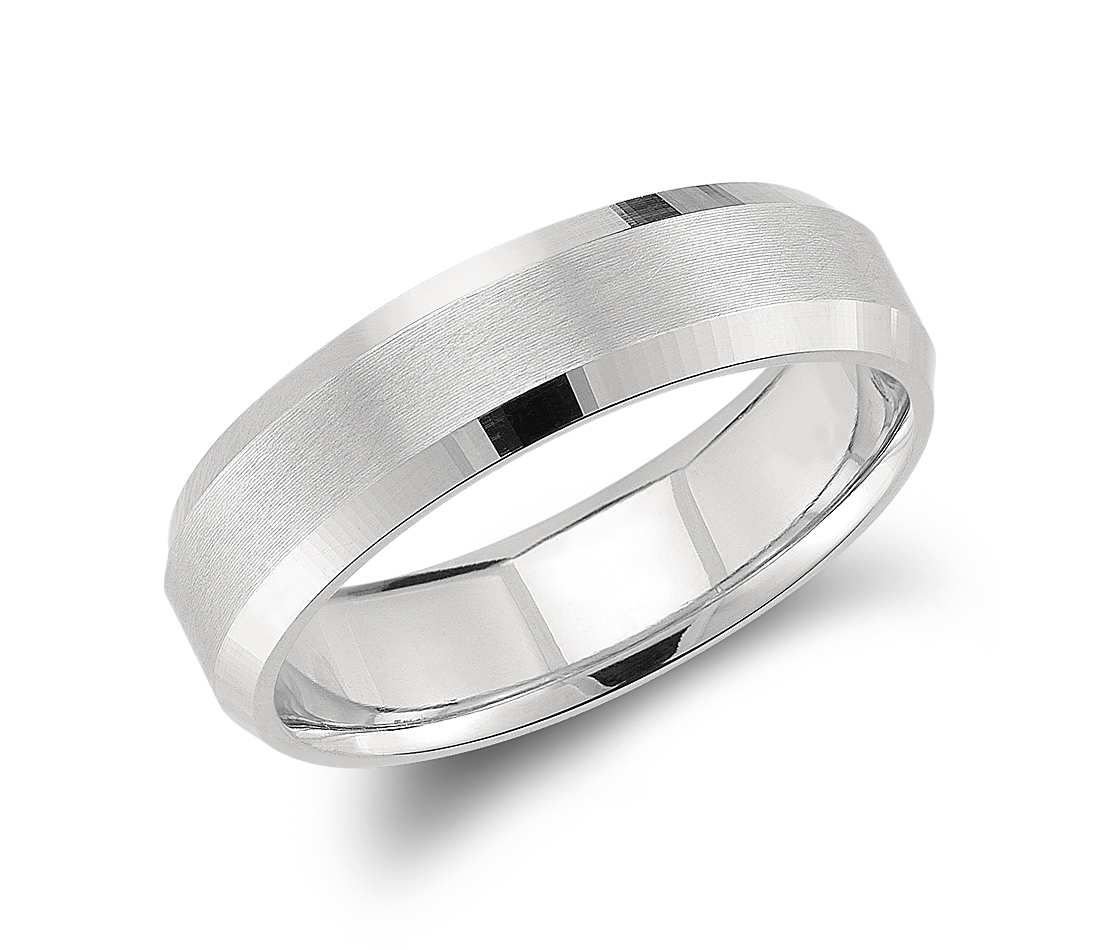 Beveled Edge Matte Wedding Ring In Platinum 6mm Mens Wedding