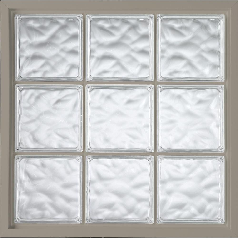 46.75 in. x 46.75 in. Glass Block Fixed Vinyl Windows Driftwood, Wave Pattern Glass - Driftwood