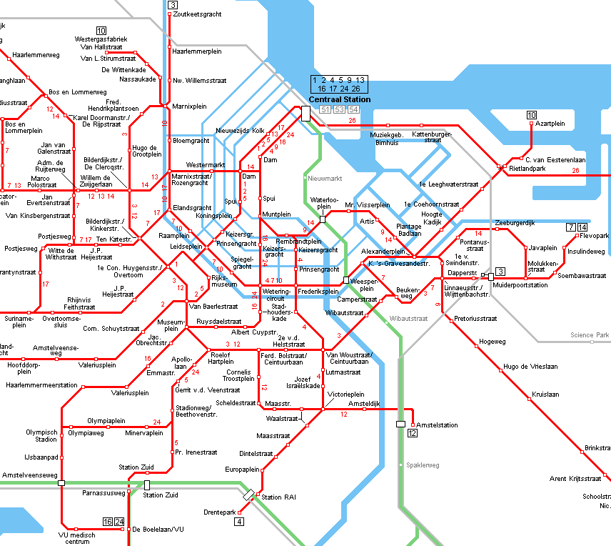 amsterdam tram map ud mass transit pinterest. Black Bedroom Furniture Sets. Home Design Ideas