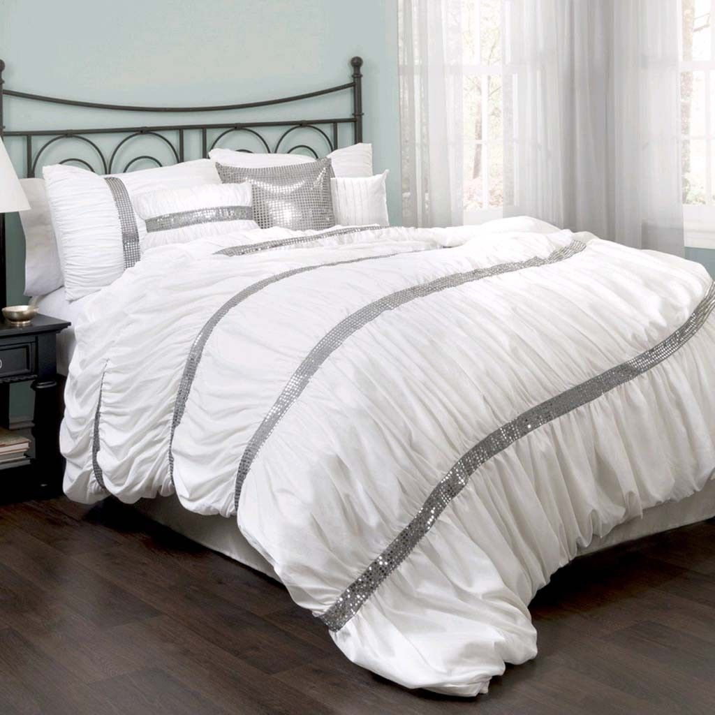 Gold Black Sequin Striped Ruched 7 pc Comforter Set Queen Cal King Glam Bedding