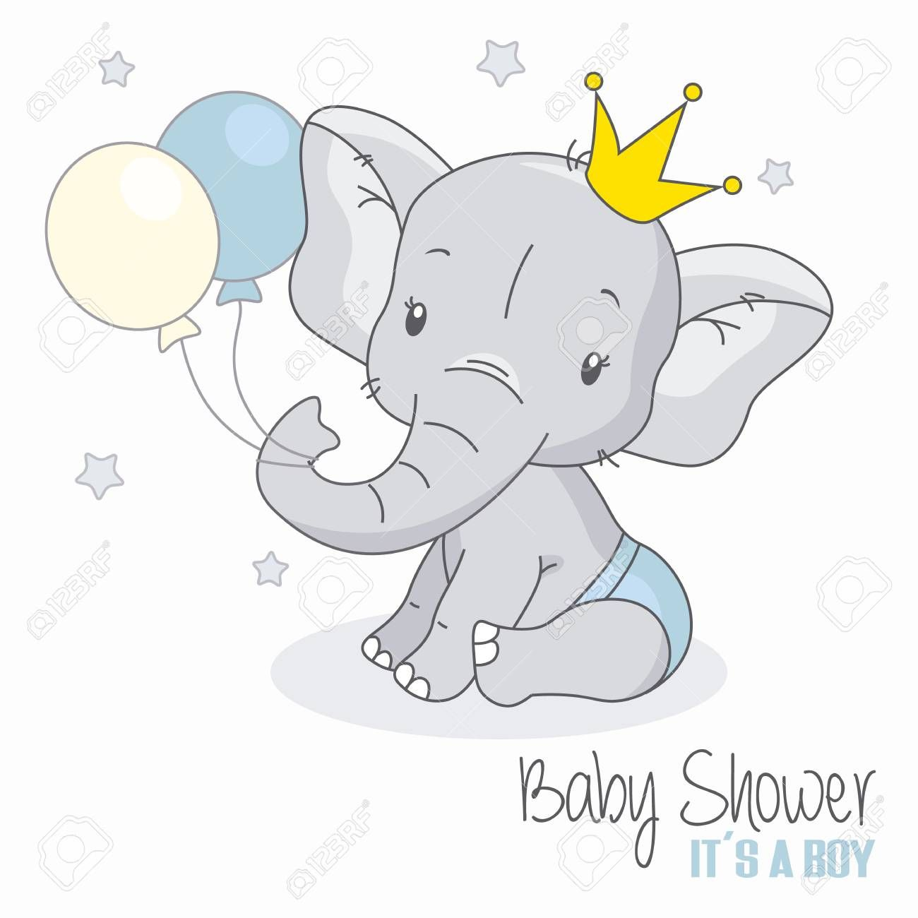 baby shower boy. Cute elephant with balloons. Illustration , #SPONSORED, #boy, #shower, #baby, #Cute, #Illustration