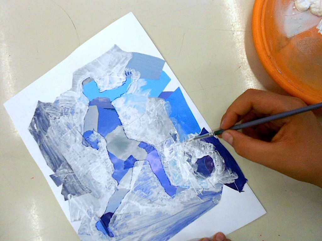 Positive And Negative Space Silhouettes In Mixed Media
