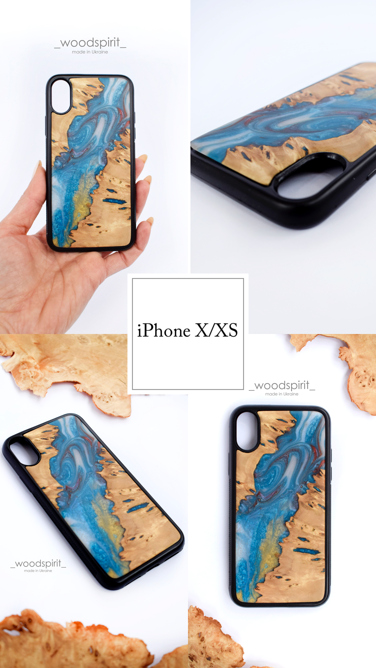 Wood And Resin Iphone X Xs Case Blue Epoxy Resin River Wooden Case Live Edge Resin And Wood Case Epoxy Resin Art Iphone 10s X Xs In 2020 Wood Case