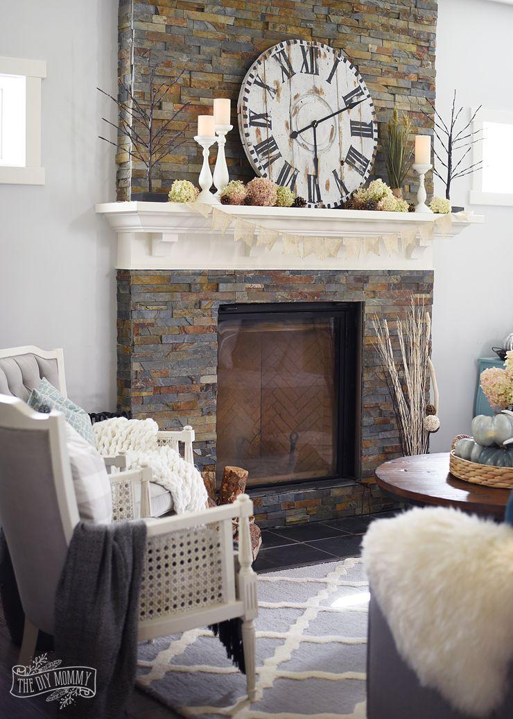 DIY wood clock on a slate fireplace Fall Decorating DIY