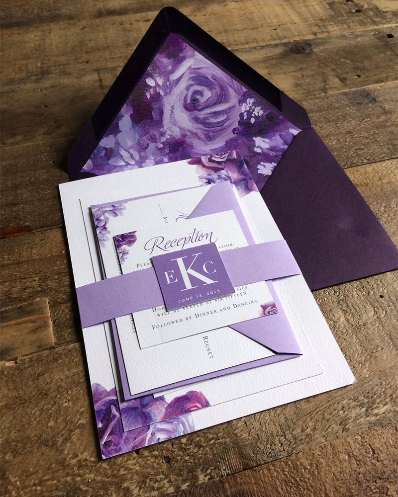 Romantic purple wedding | Invitation suite featuring handpainted florals |  by Angelina Perricone | Purple wedding invitations, Wedding invitations, Purple  wedding
