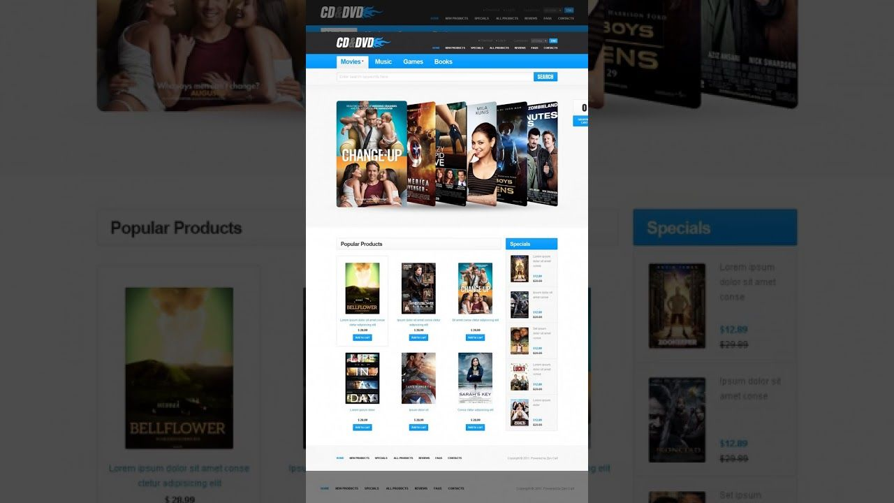 Most Popular zen cart homepage template   VIDEO TEMPLATES ...
