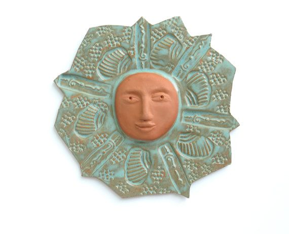 Ceramic Garden Art Sun Wall Sculpture By Acosmicmermaid