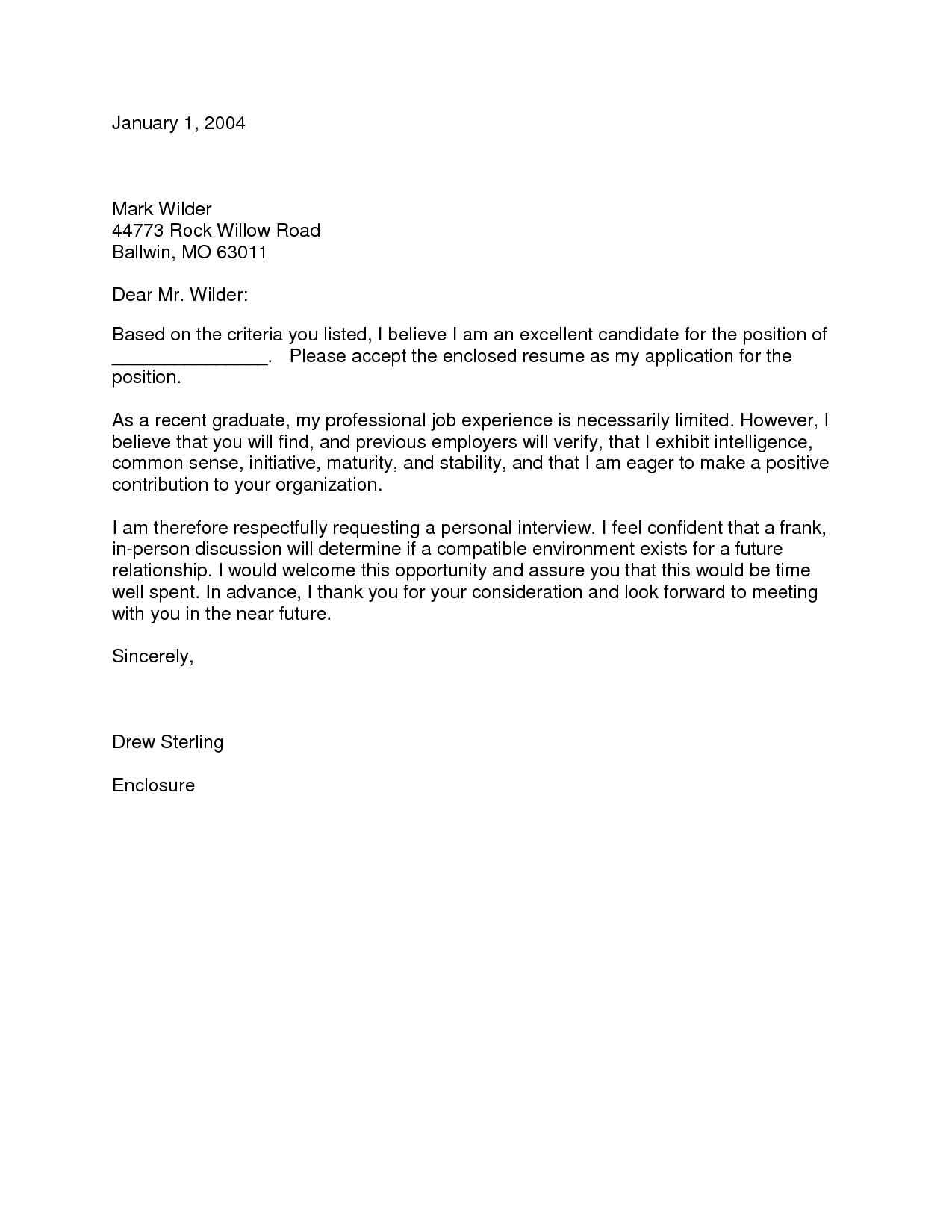 Cover Letter Recent Graduate Cover Letter For Resume Nursing Cover Letter Nurse Cover