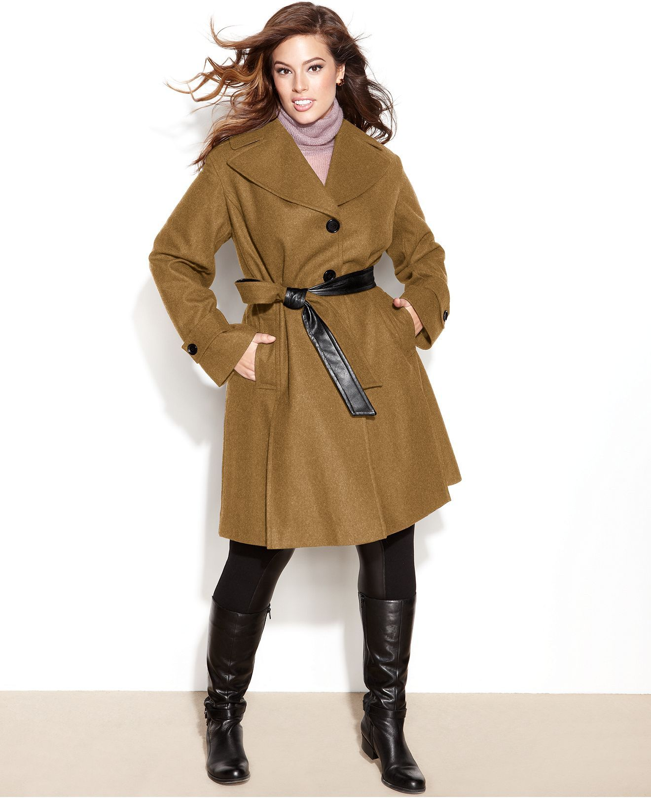 dkny plus size coat, wool-blend belted trench - plus size coats