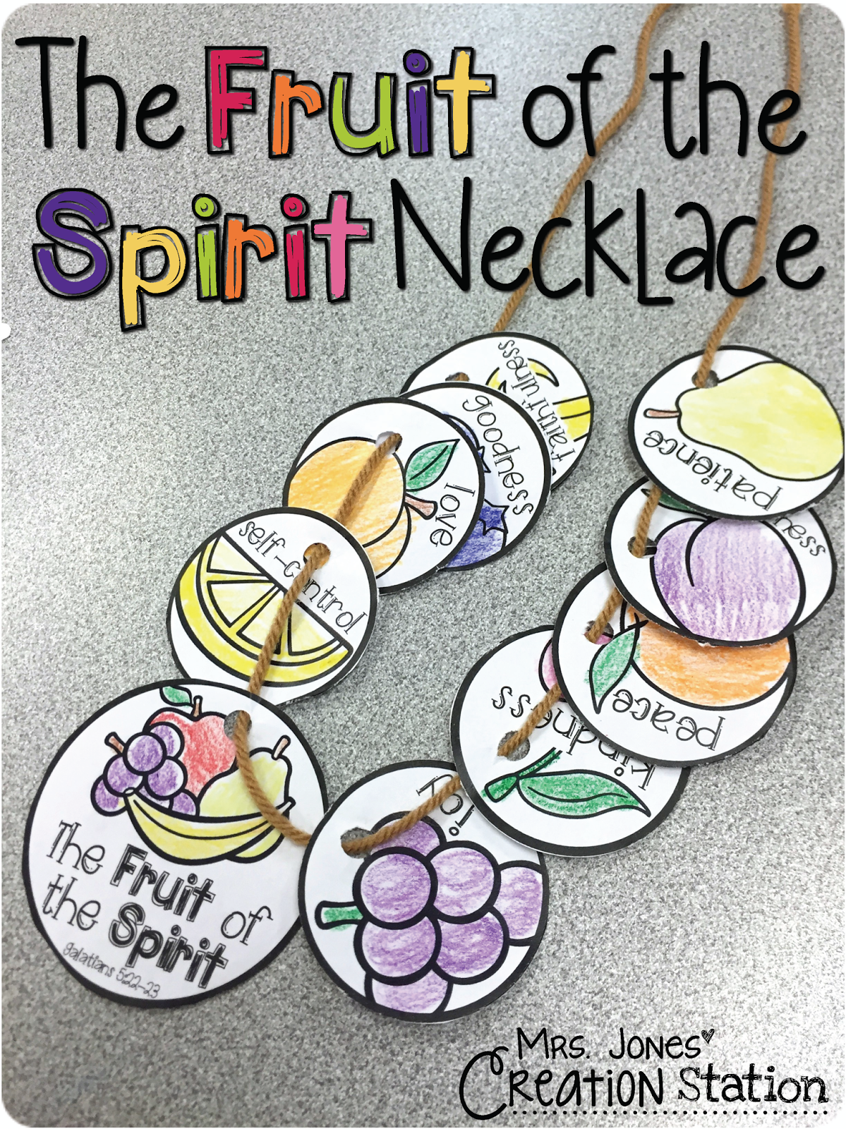 Childrens coloring pages for the fruits of the spirit - The Fruit Of The Spirit Necklace
