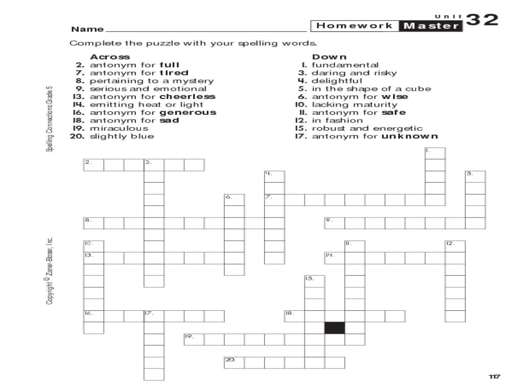 Crossword Grade 7 Worksheet Spelling Exercises For 5 Math