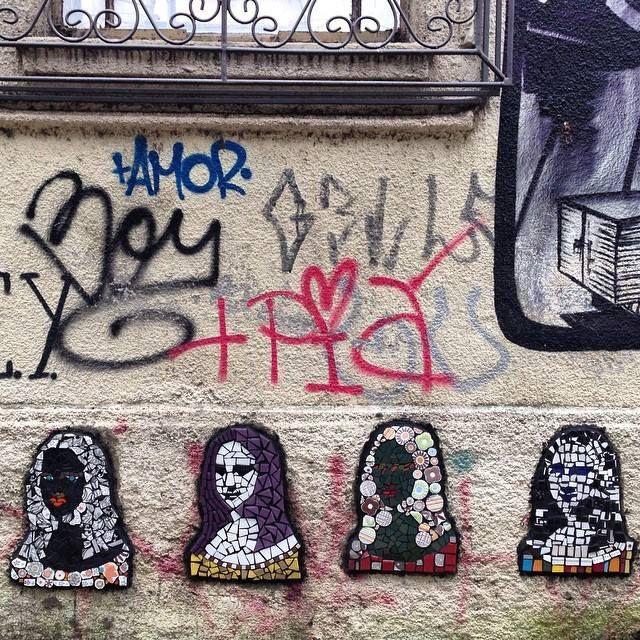 Intervenção Urbana com Mosaico do Coletivo Murb na Rua da República Porto Alegre