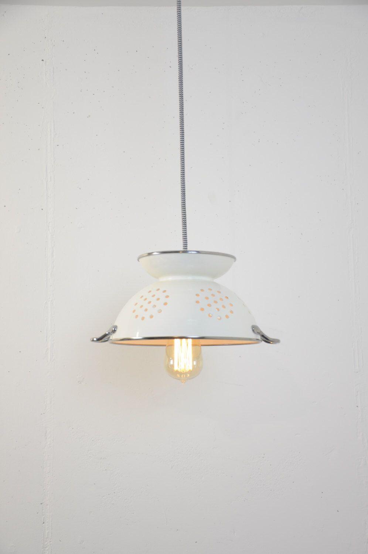 colander pendant light fixture kitchen   handmade lights   pinterest