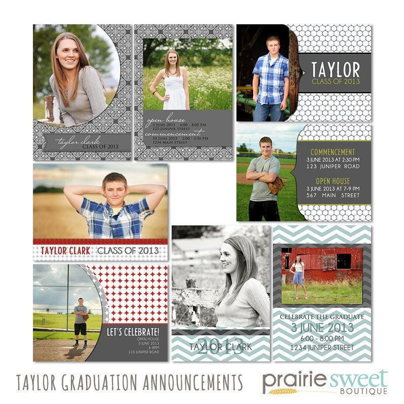 Taylor Graduation Announcements  Photoshop by PrairieSweetBoutique, $36.00
