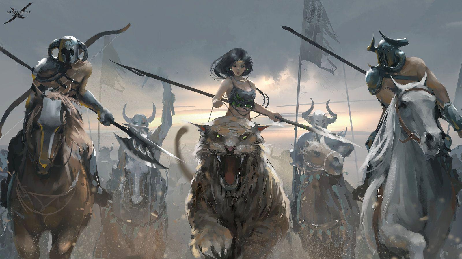 Battle by wlop female barbarian beastmaster beast rider ...