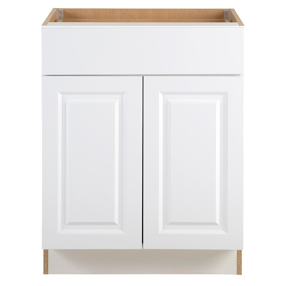 Hampton Bay Benton Assembled 27x34 5x24 In Base Cabinet With Soft Close Full Extension Drawer In White Bt2735b Wh The Home Depot Base Cabinets White Paneling Cabinet