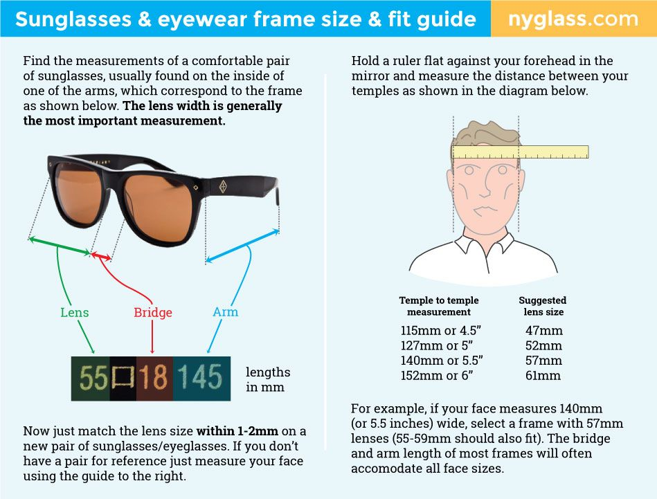 How To Choose The Right Size Sunglasses Eyewear A Frame Size Fit Guide Eyewear Sunglasses How To Choose Sunglasses Frame Size