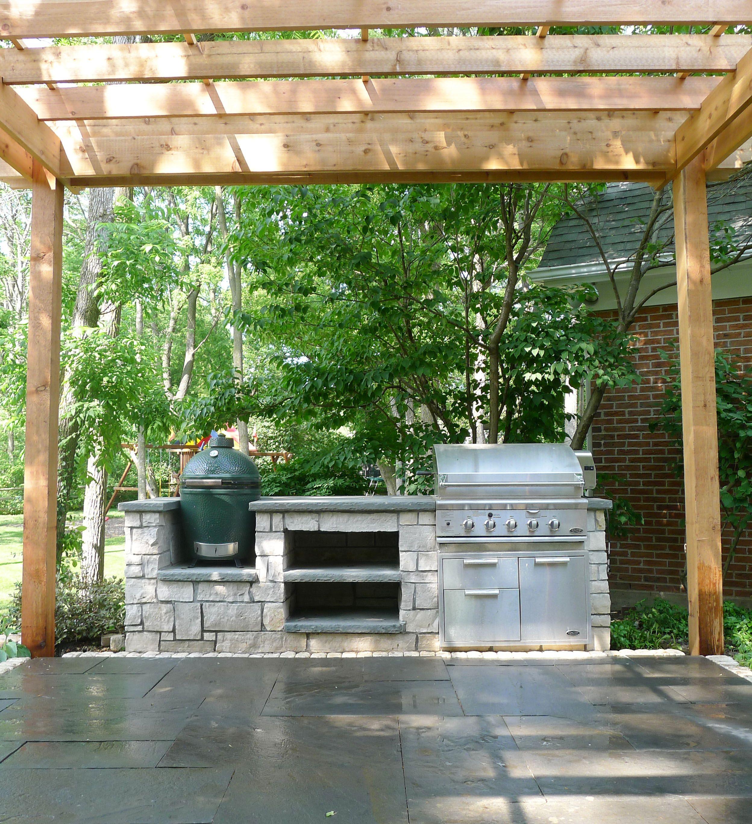 Outdoor Grill Green Egg Outdoor Kitchen Pergola Shade Structure Bluestone Patio Outdoor Kitchen Patio Pergola Backyard Patio