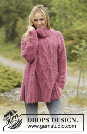 Warm Wine jumper with cables and turtle neck by DROPS Design. Free ...