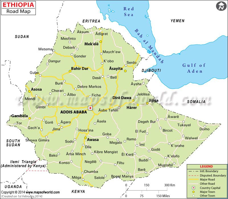 Ethiopia road map places to visit assosa pinterest ethiopia ethiopia road map showing all the major roads with capital city and other major cities gumiabroncs Image collections