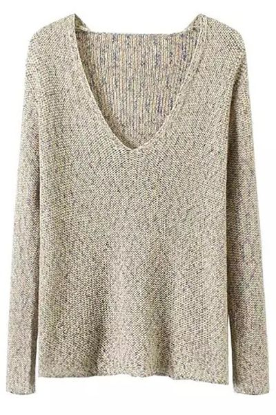 V-Neck Mixed Color Sweater