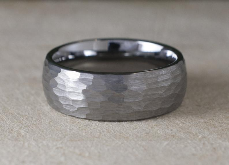 Hammered Tungsten Ring 8mm Grey Brushed Men Wedding Band Male Etsy In 2021 Hammered Tungsten Ring Tungsten Ring Mens Wedding Bands