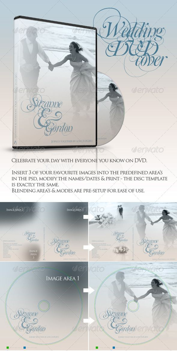 Wedding DVD \ CD Covers Cd cover, Print templates and Template - psd album cover template