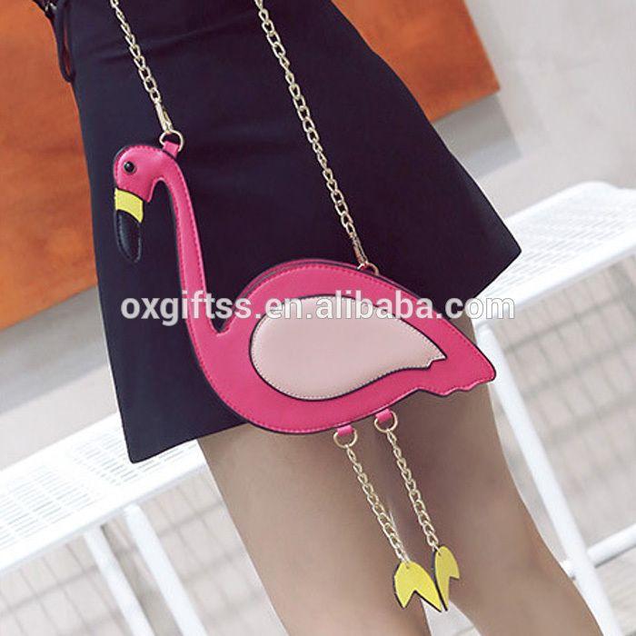 OXGIFT China suppliers Wholesale Factory Price Amazon lady Fashion women cute Pink hand pu Flamingo Style Shoulder Chain bag