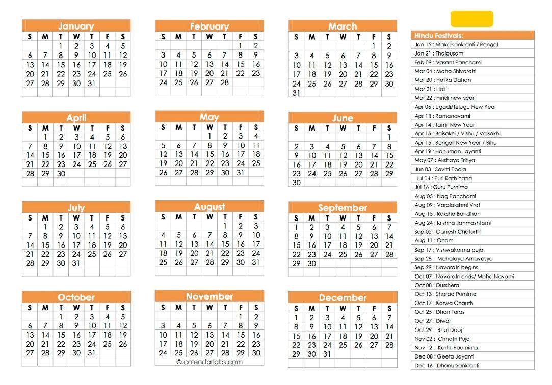 Hindu Calendar 2019 Festivals Tyohar Panchang Tithi