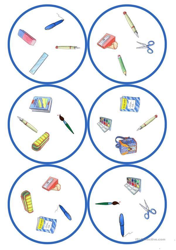 Spiele im Deutschunterricht: Dobble - Schulsachen (13 Karten / 4 ...