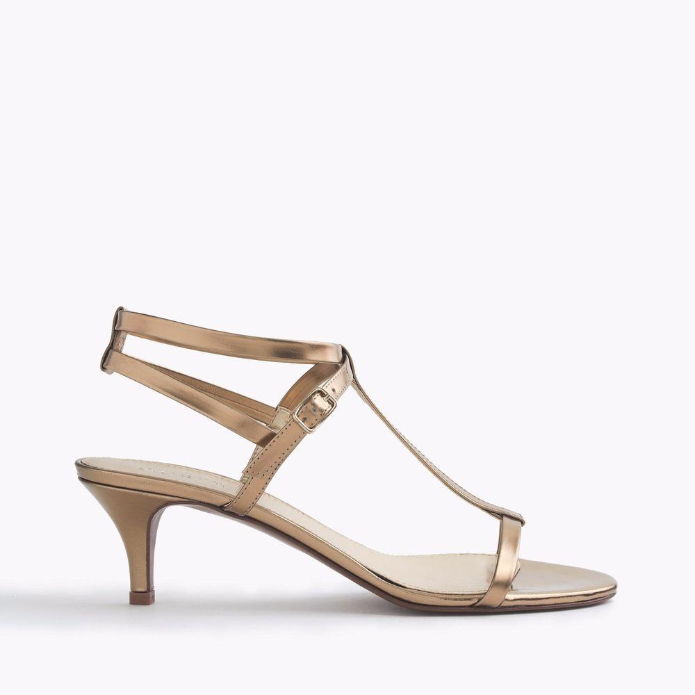 New J Crew Greta Sandals Gold Metallic Strappy Size 9 M Kitten Made In Italy Kitten Heel Sandals Metallic Sandals Ankle Strap Shoes