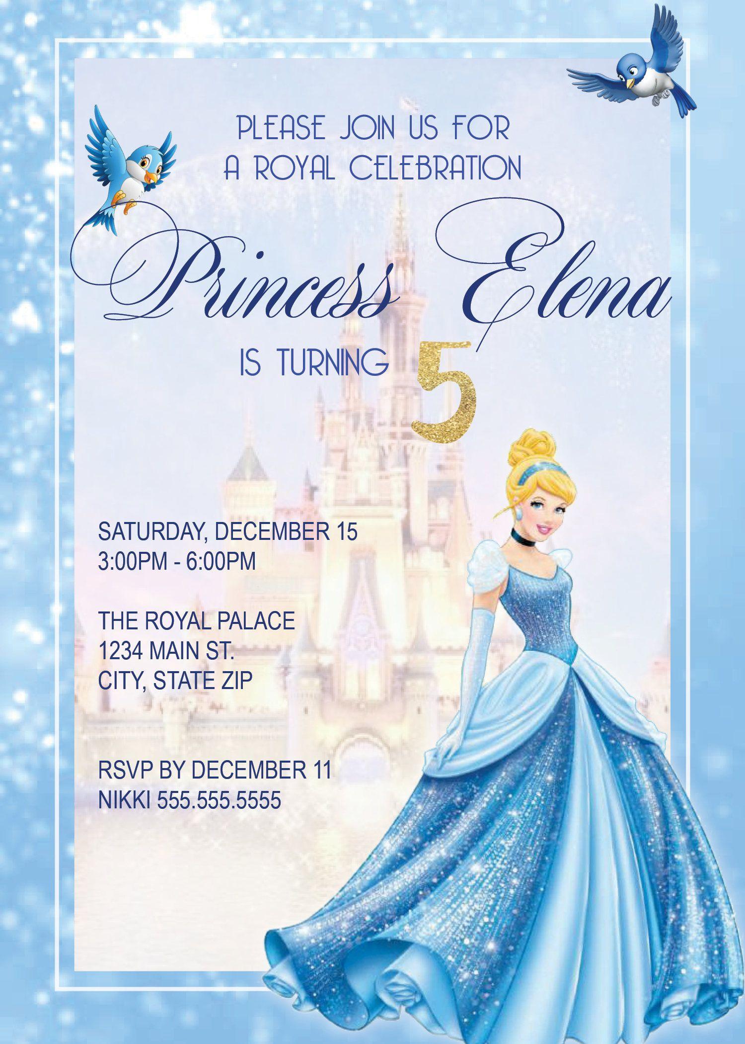 DIGITAL* Cinderella Birthday Party Invitation | Pinterest | Party ...