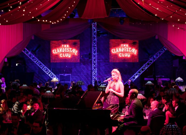 Clandestine club, Christmas party theme at the Brewery INSPIRATION