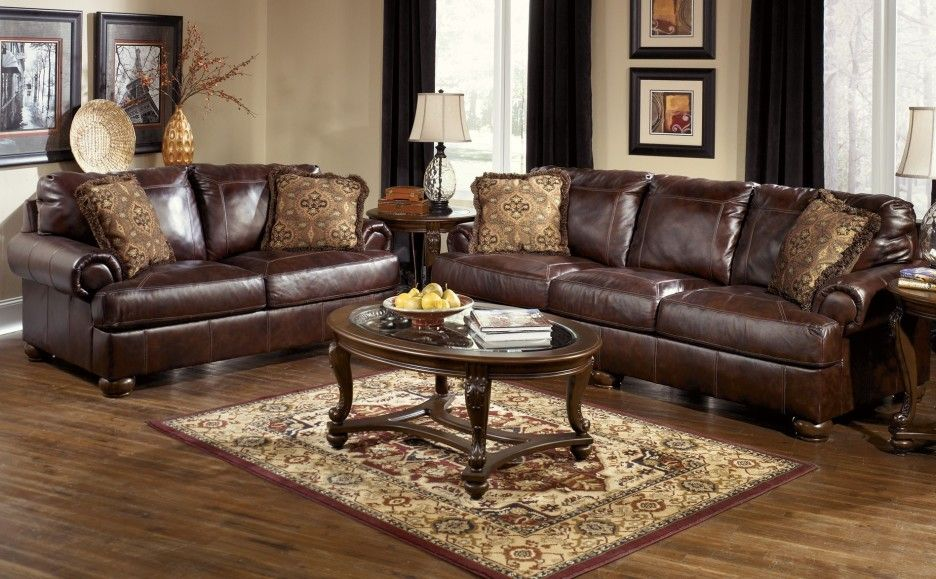 Furniture Brown Leather Sofa Set With Brown Motives Cushion And